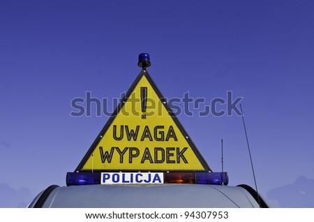 """""""uwaga wypadek"""" be carefull acccident , sign - stock photo"""