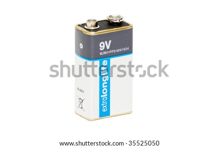 9V battery isolated on white, clipping path