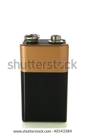 9v battery isolated on white with clipping path - stock photo