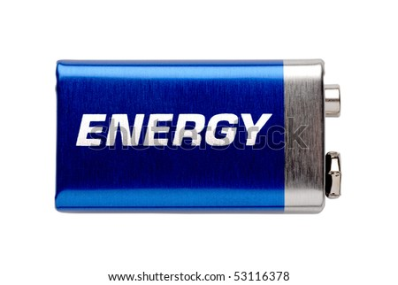 """9V battery isolated on white with written word """"energy"""" - stock photo"""