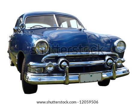 1952 V8 Custom Car, isolated with clipping path - stock photo