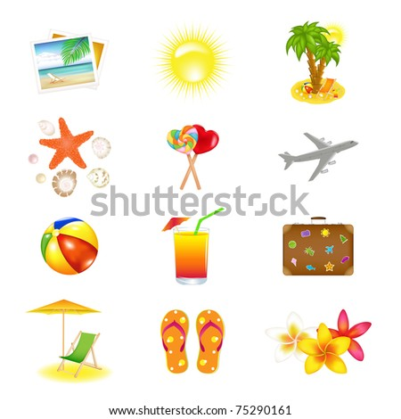 12 Vacation  And Travel Icons, Isolated On White Background - stock photo