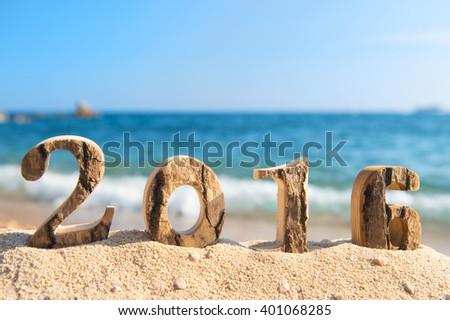 2016 vacation at the beach - stock photo