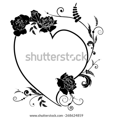 valentine frame with  heart and roses in black and white colors - stock photo