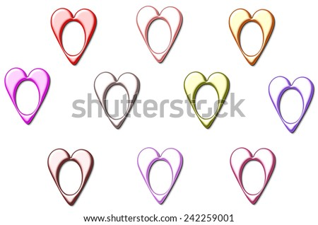 Valentine  hearts in metal frames shapes