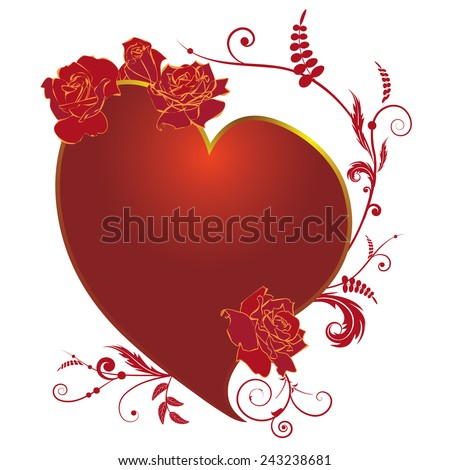 valentine illustration with  heart and roses  - stock photo