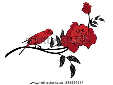 Valentine vignette with rose and bird - stock photo