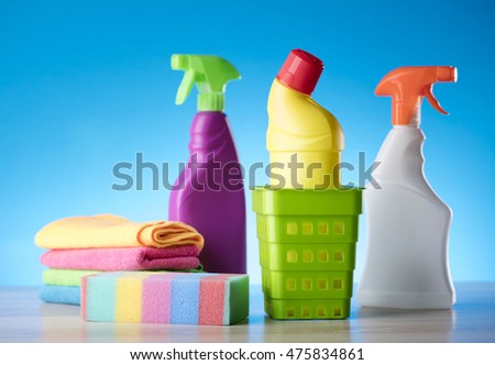 * 		Variety of cleaning products,home work, on blue background