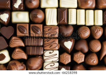 various chocolate pralines - stock photo