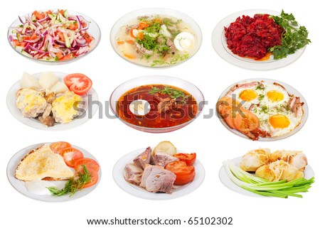 9 various food on plates. Isolated over white background with clipping path - stock photo