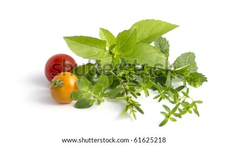various herbs and cherry tomatoes isolated on white - stock photo