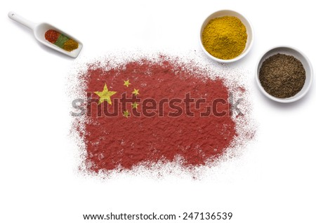 Various spices forming the flag of China.(series) - stock photo