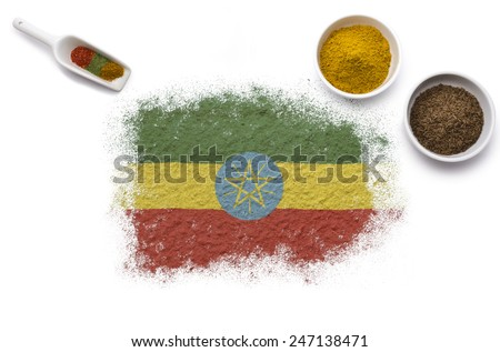 Various spices forming the flag of Ethiopia.(series) - stock photo