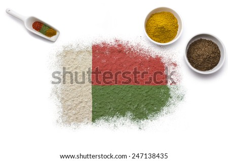 Various spices forming the flag of Madagascar.(series)