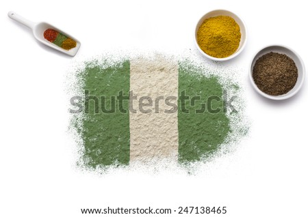 Various spices forming the flag of Nigeria.(series)