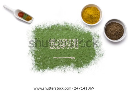 Various spices forming the flag of Saudi Arabia.(series) - stock photo