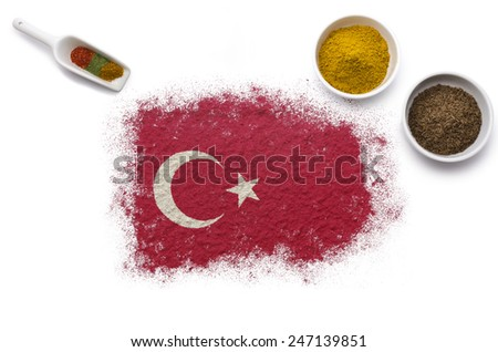 Various spices forming the flag of Turkey.(series) - stock photo
