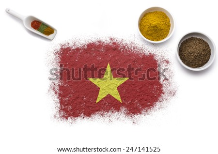 Various spices forming the flag of Vietnam.(series) - stock photo