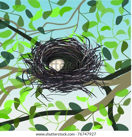 vector egg in nest on the tree - stock photo