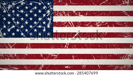 vector of retro grunge flag of the united states - stock photo