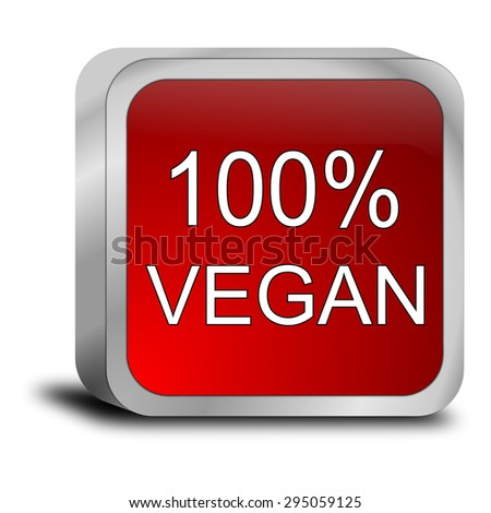 100% vegan Button - stock photo