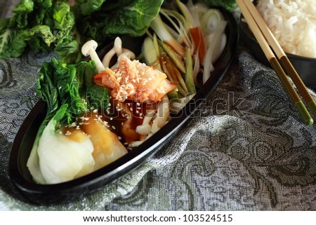 Vegetables sauce and rice - stock photo