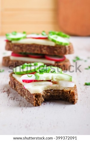 Vegetarian sandwich with vegetables - stock photo
