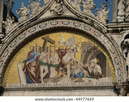 Venice - The basilica St Mark's. Mosaic from upper facade .  'Descent into Limbo' Mosaic
