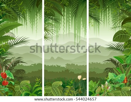 3 vertical banners set tropical forest stock illustration 544024657