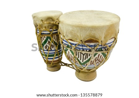 Vertical image of isolated bongo drums - stock photo
