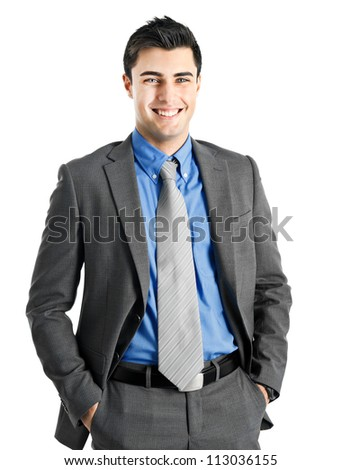 Very handsome businessman with beautiful blue eyes isolated on white - stock photo