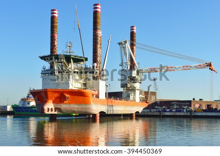 vessel used for placing windturbines offshore..