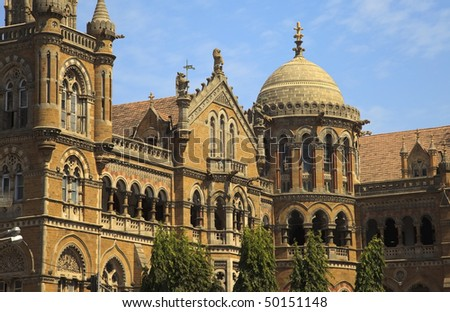 Victoria Terminus Train Station in Mumbai (India). - stock photo