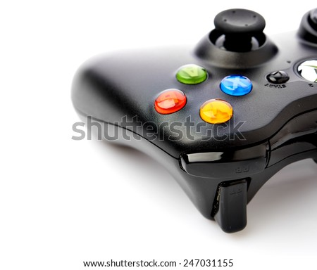 Video game controller for console or computer pc isolated on white background. - stock photo