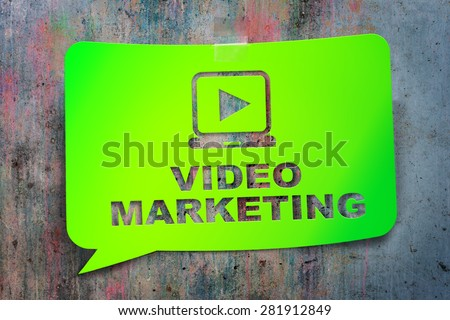 """""""Video marketing,"""" green banner on a textural background. Design, template,business, technology - stock photo"""