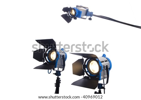 3 video or movie lamps - stock photo