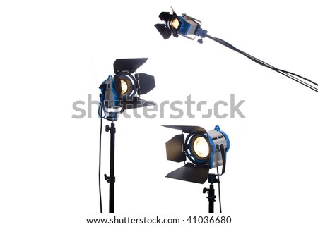 3 video or movie lamps isolated - stock photo