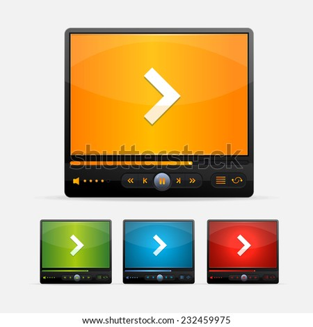 Video Player Skin colour set - stock photo