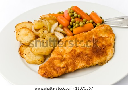 """Viennese Schnitzel""with fried potatoes"