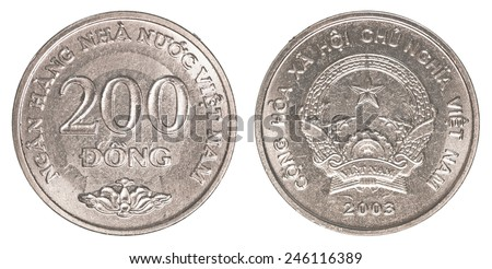 200 vietnamese dong coin isolated on white background - set - stock photo