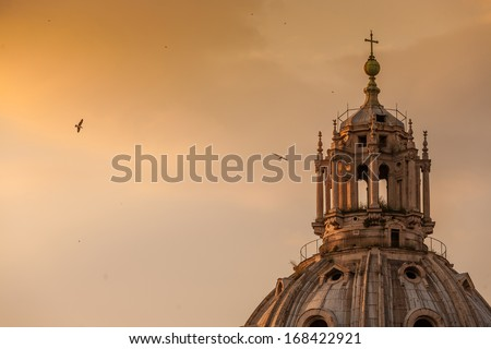 view at St. Peter's cathedral in Rome, Italy at twilight - stock photo