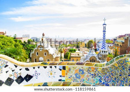 View  from one famous Park in Barcelona  - Guell - stock photo