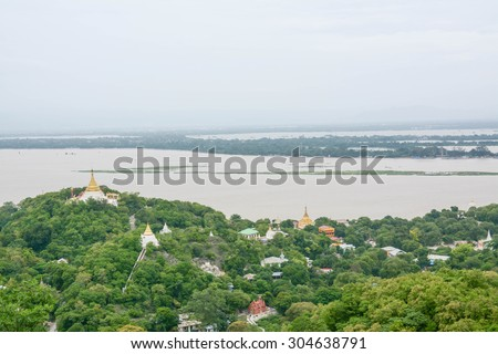view from Soon U Pond Nya Shin Paya Pagoda,Sagaing hill , Sagaing City, The Old City of Religion and Culture Outside Mandalay, Myanmar. - stock photo