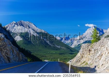 View from the Kananaskis area of rural Alberta, Canada. - stock photo