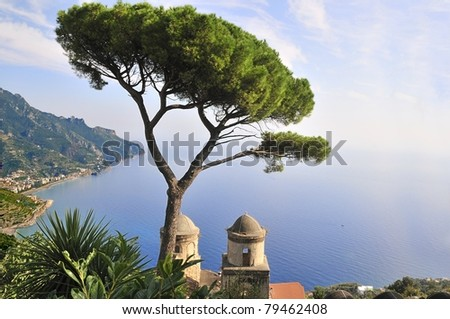 View from Villa Rufolo in the town of Ravello, Italy - stock photo