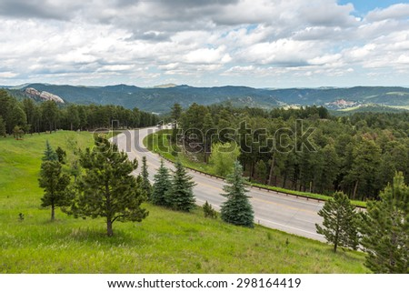 view near by Mount Rushmore National Memorial ,South Dakota, Usa. - stock photo