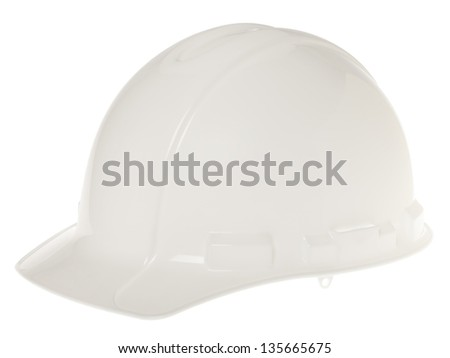 45�° view of a white hard hat, isolated on white background.