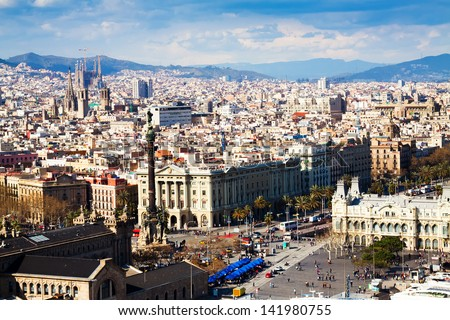 view of Barcelona city from port side. Catalonia,  Spain