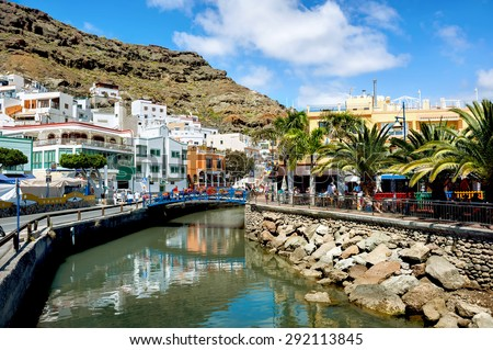 View of canal and street in Puerto Mogan. Gran Canaria. Spain - stock photo