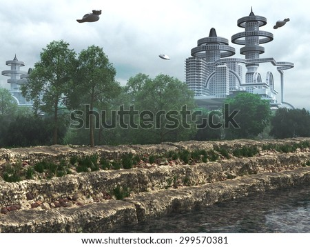 view of Futuristic City with flying spaceships old and modern concept - stock photo